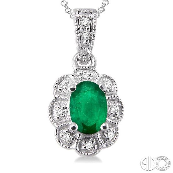 6x4 mm Oval Cut Emerald and 1/20 ctw Single Cut Diamond Pendant in Sterling Silver with Chain Image 3 Trinity Diamonds Inc. Tucson, AZ