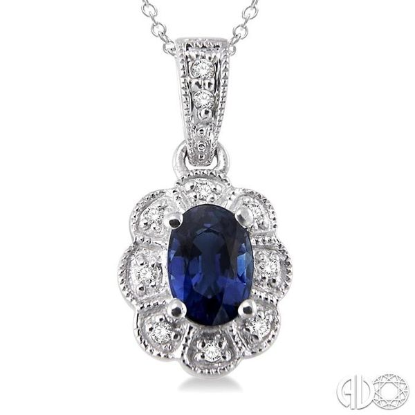 6x4 mm Oval Cut Sapphire and 1/20 ctw Single Cut Diamond Pendant in Sterling Silver with Chain Image 3 Trinity Diamonds Inc. Tucson, AZ