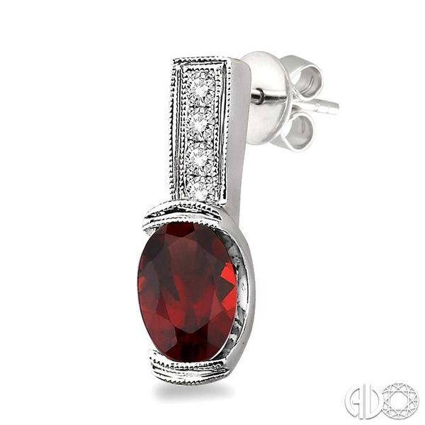 7x5 mm Oval Cut Garnet and 1/50 Ctw Single Cut Diamond Earrings in Sterling Silver Image 3 Trinity Diamonds Inc. Tucson, AZ