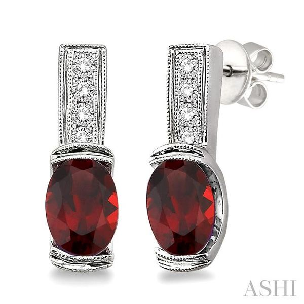 7x5 mm Oval Cut Garnet and 1/50 Ctw Single Cut Diamond Earrings in Sterling Silver Trinity Diamonds Inc. Tucson, AZ