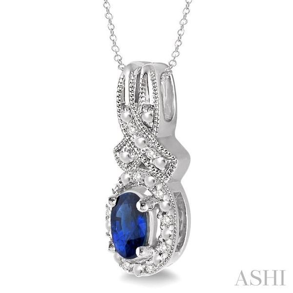 5x3 mm Oval Cut Sapphire and 1/50 Ctw Single Cut Diamond Pendant in Sterling Silver with Chain Image 2 Trinity Diamonds Inc. Tucson, AZ