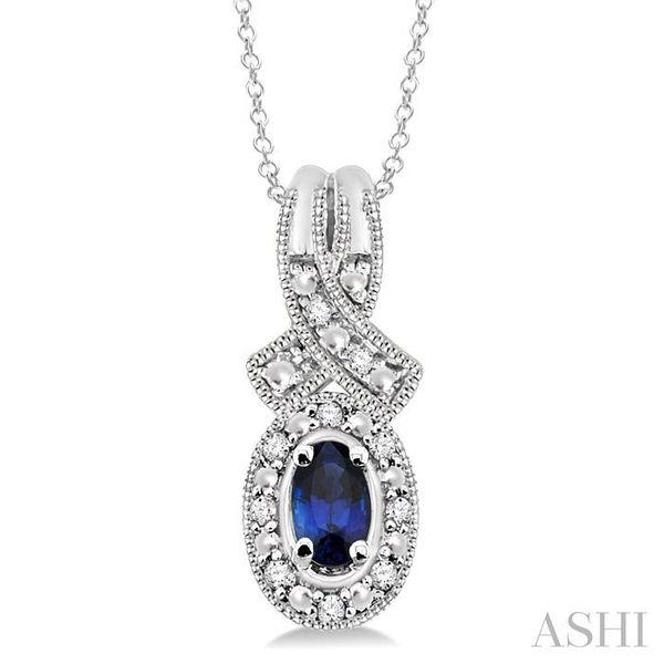 5x3 mm Oval Cut Sapphire and 1/50 Ctw Single Cut Diamond Pendant in Sterling Silver with Chain Trinity Diamonds Inc. Tucson, AZ
