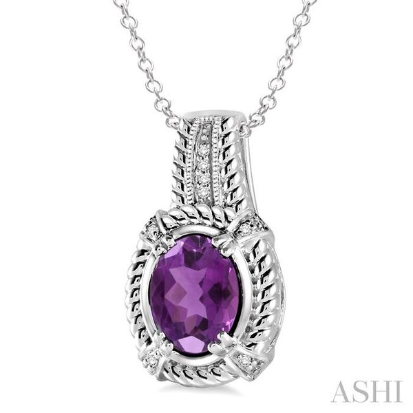9x7 mm Oval Cut Amethyst and 1/50 Ctw Single Cut Diamond Pendant in Sterling Silver with Chain Image 2 Trinity Diamonds Inc. Tucson, AZ