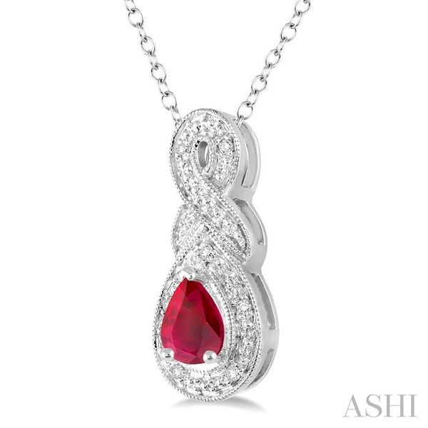 6x4 MM Pear Shape Ruby and 1/50 Ctw Round Cut Diamond Pendant in Sterling Silver with Chain Image 2 Trinity Diamonds Inc. Tucson, AZ