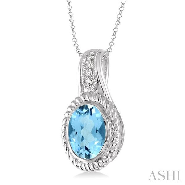 10x8 MM Oval Cut Blue Topaz and 1/20 Ctw Single Cut Diamond Pendant in Sterling Silver with Chain Image 2 Trinity Diamonds Inc. Tucson, AZ