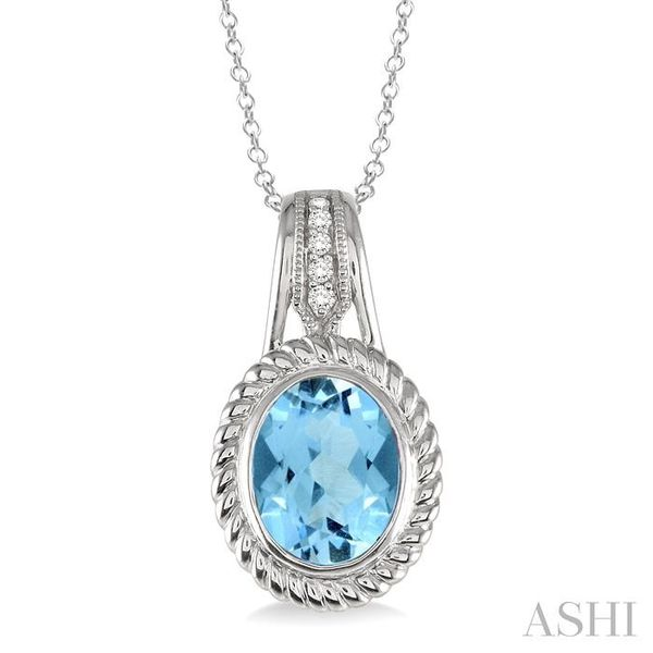 10x8 MM Oval Cut Blue Topaz and 1/20 Ctw Single Cut Diamond Pendant in Sterling Silver with Chain Trinity Diamonds Inc. Tucson, AZ