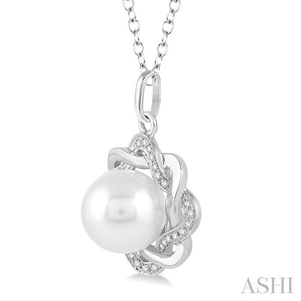 6.5x6.5 MM Cultured White Pearl and 1/10 Ctw Round Cut Diamond Pendant in Sterling Silver with Chain Image 2 Trinity Diamonds Inc. Tucson, AZ