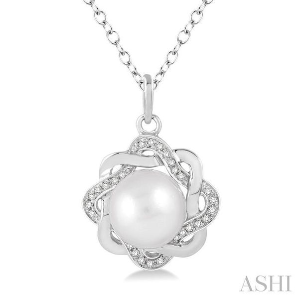 6.5x6.5 MM Cultured White Pearl and 1/10 Ctw Round Cut Diamond Pendant in Sterling Silver with Chain Trinity Diamonds Inc. Tucson, AZ