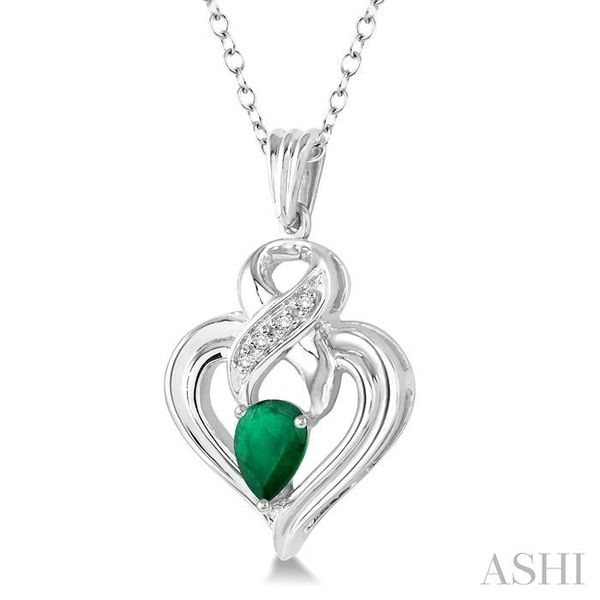 6x4 mm Pear Shape Emerald and 1/50 Ctw Single Cut Diamond Pendant in Sterling Silver with Chain Image 2 Trinity Diamonds Inc. Tucson, AZ