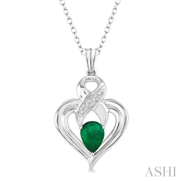 6x4 mm Pear Shape Emerald and 1/50 Ctw Single Cut Diamond Pendant in Sterling Silver with Chain Trinity Diamonds Inc. Tucson, AZ