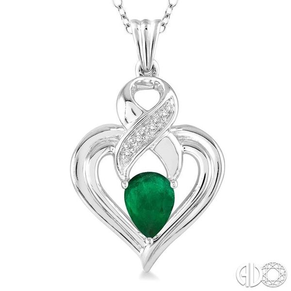 6x4 mm Pear Shape Emerald and 1/50 Ctw Single Cut Diamond Pendant in Sterling Silver with Chain Image 3 Trinity Diamonds Inc. Tucson, AZ