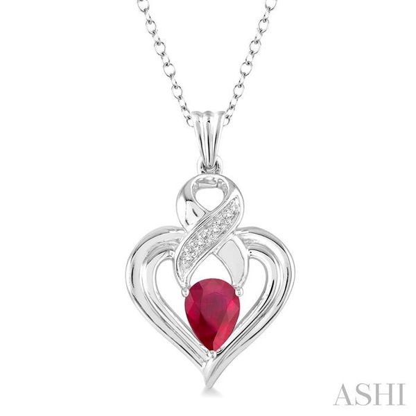 6x4 mm Pear Shape Ruby and 1/50 Ctw Single Cut Diamond Pendant in Sterling Silver with Chain Trinity Diamonds Inc. Tucson, AZ