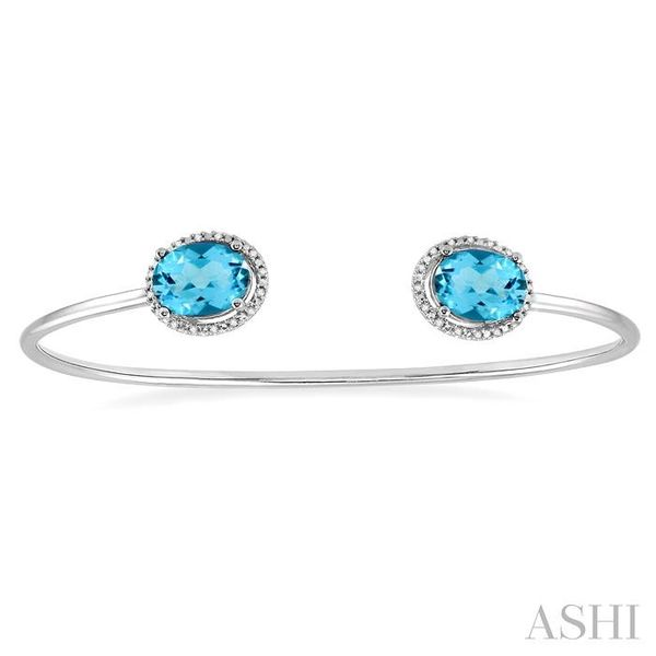 1/10 Ctw Oval Shape 9x7mm Blue Topaz & Round Cut Diamond Bangle in Sterling Silver Image 2 Trinity Diamonds Inc. Tucson, AZ
