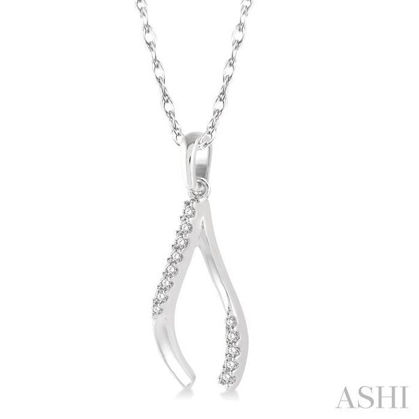 1/10 Ctw Wishbone Charm Round Cut Diamond Pendant With Link Chain in 10K White Gold Image 2 Trinity Diamonds Inc. Tucson, AZ