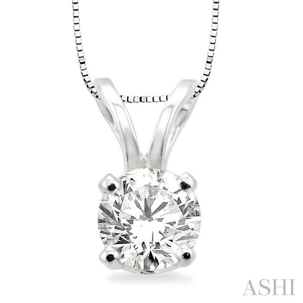 Round Cut Diamond Solitaire Pendant in 14K White Gold with chain Trinity Diamonds Inc. Tucson, AZ