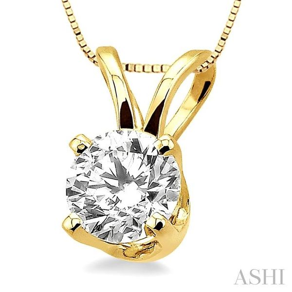 Round Cut Diamond Solitaire Pendant in 14K Yellow Gold with chain Image 2 Trinity Diamonds Inc. Tucson, AZ