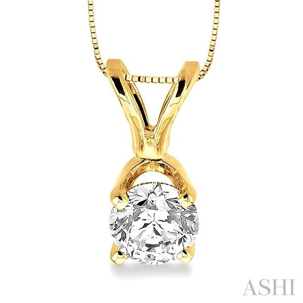 Round Cut Diamond Solitaire Pendant in 14K Yellow Gold with chain Trinity Diamonds Inc. Tucson, AZ