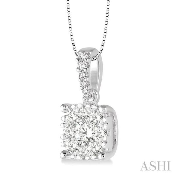 3/4 Ctw Square Shape Diamond Lovebright Pendant in 14K White Gold with Chain Image 2 Trinity Diamonds Inc. Tucson, AZ