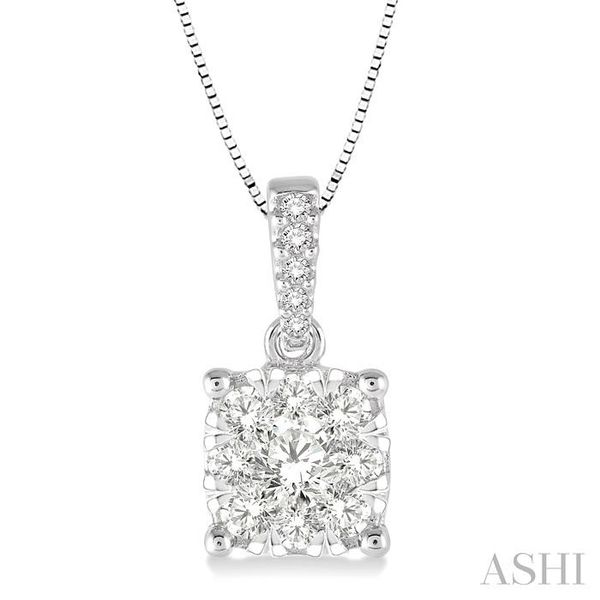 3/4 Ctw Square Shape Diamond Lovebright Pendant in 14K White Gold with Chain Trinity Diamonds Inc. Tucson, AZ