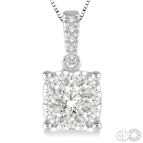 3/4 Ctw Square Shape Diamond Lovebright Pendant in 14K White Gold with Chain Image 3 Trinity Diamonds Inc. Tucson, AZ