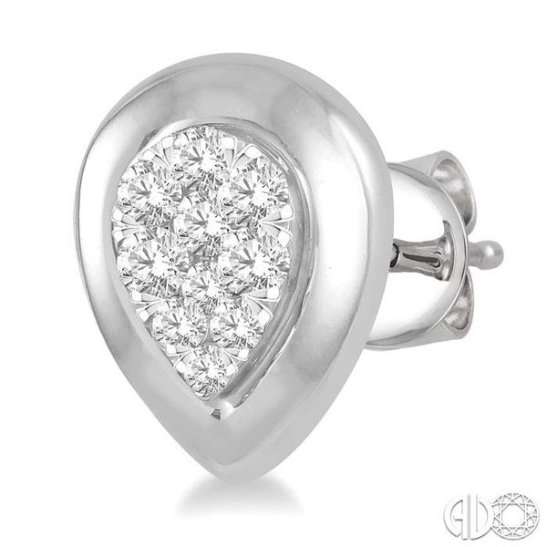 3/8 Ctw Pear Shape Round Cut Diamond Lovebright Stud Earrings in 14K White Gold Image 3 Trinity Diamonds Inc. Tucson, AZ
