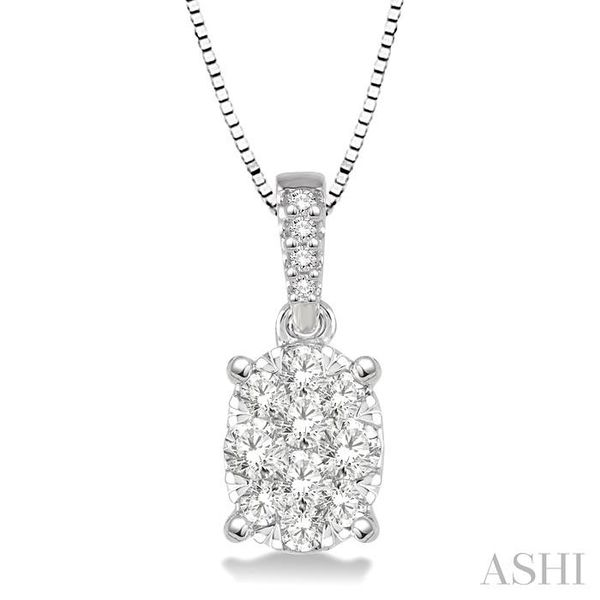 1/3 Ctw Oval Shape Diamond Lovebright Pendant in 14K White Gold with Chain Trinity Diamonds Inc. Tucson, AZ