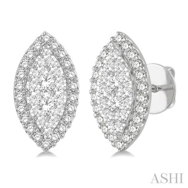 1 Ctw Marquise Shape Lovebright Round Cut Diamond Stud Earrings in 14K White Gold Trinity Diamonds Inc. Tucson, AZ
