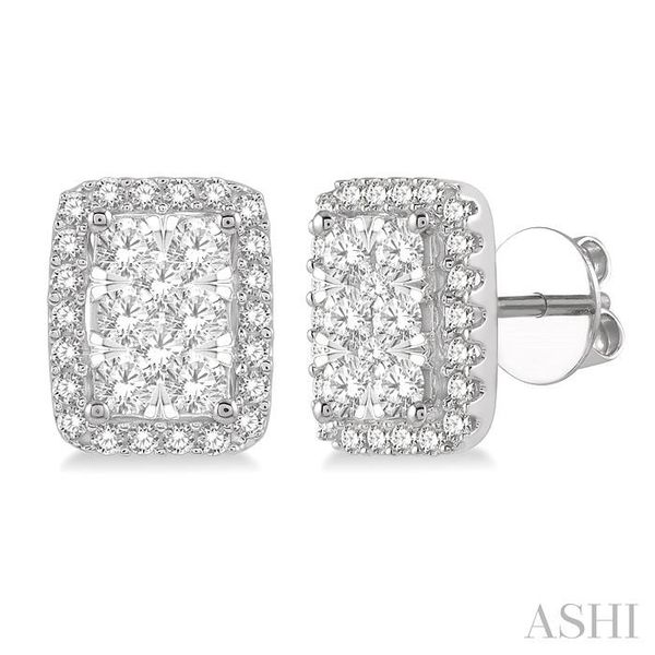1 Ctw Emerald Shape Lovebright Round Cut Diamond Stud Earrings in 14K White Gold Trinity Diamonds Inc. Tucson, AZ
