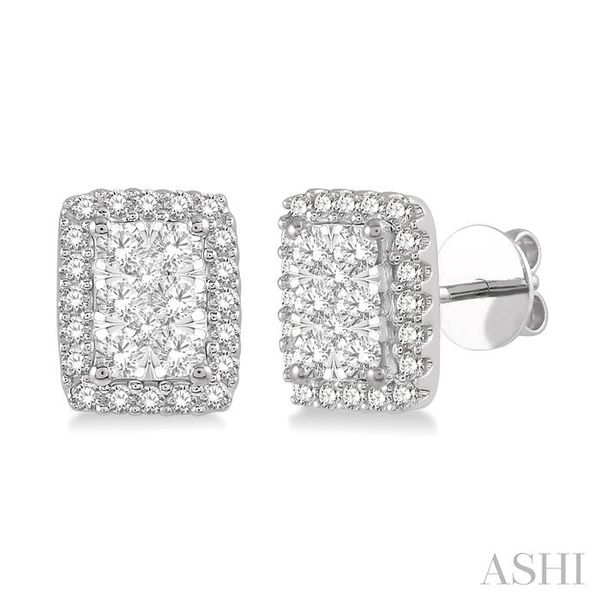 1/2 Ctw Emerald Shape Lovebright Round Cut Diamond Stud Earrings in 14K White Gold Trinity Diamonds Inc. Tucson, AZ
