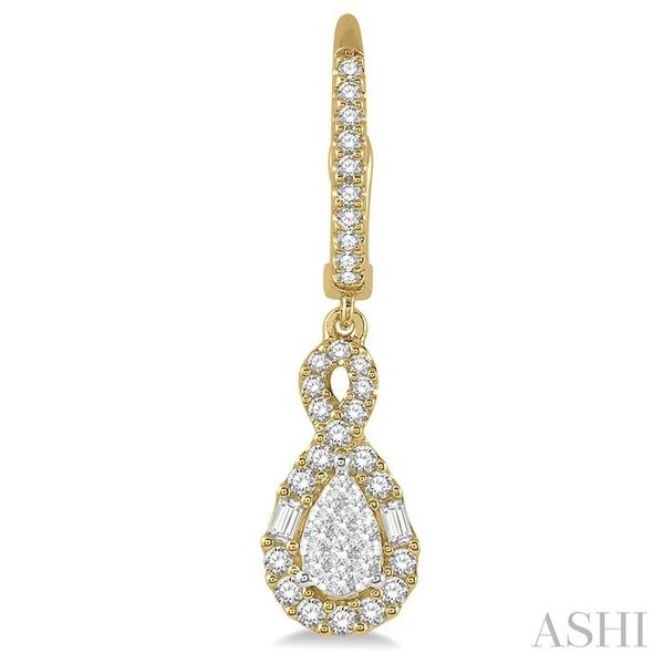 5/8 Ctw Pear Shape Lovebright Diamond Earrings in 14K Yellow and White Gold Image 2 Trinity Diamonds Inc. Tucson, AZ