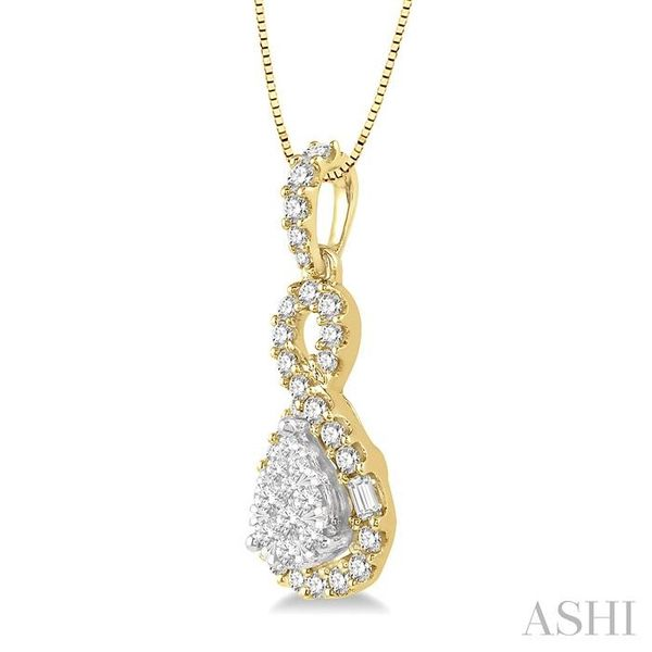 1/2 Ctw Pear Shape Lovebright Diamond Pendant in 14K Yellow and White Gold with chain Image 2 Trinity Diamonds Inc. Tucson, AZ