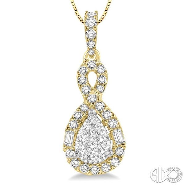 1/2 Ctw Pear Shape Lovebright Diamond Pendant in 14K Yellow and White Gold with chain Image 3 Trinity Diamonds Inc. Tucson, AZ