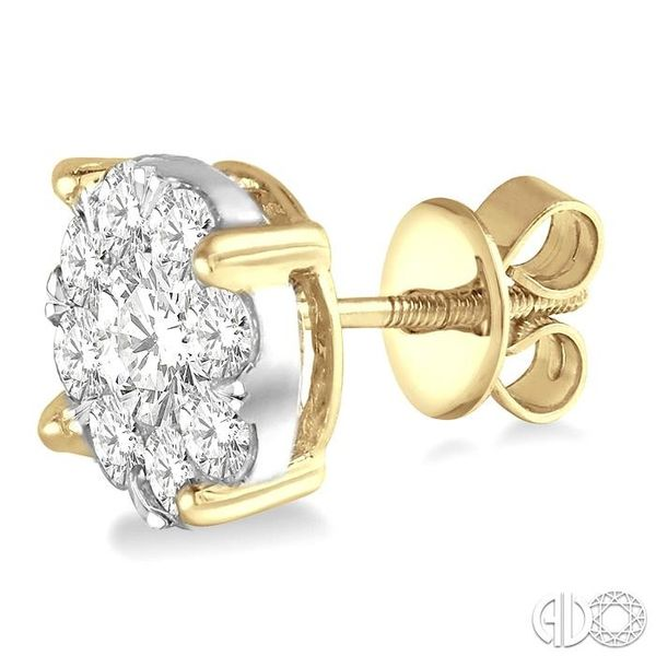 2 1/10 Ctw Lovebright Round Cut Diamond Earrings in 14K Yellow and White Gold Image 3 Trinity Diamonds Inc. Tucson, AZ