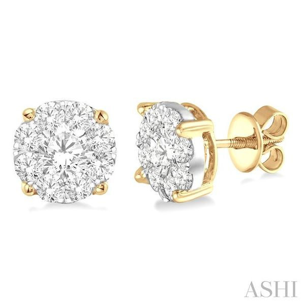 2 1/10 Ctw Lovebright Round Cut Diamond Earrings in 14K Yellow and White Gold Trinity Diamonds Inc. Tucson, AZ