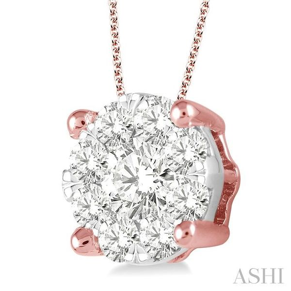 2 Ctw Lovebright Round Cut Diamond Pendant in 14K Rose and White Gold with Chain Image 2 Trinity Diamonds Inc. Tucson, AZ