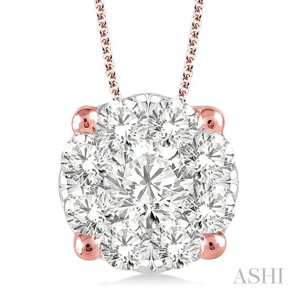2 Ctw Lovebright Round Cut Diamond Pendant in 14K Rose and White Gold with Chain Trinity Diamonds Inc. Tucson, AZ
