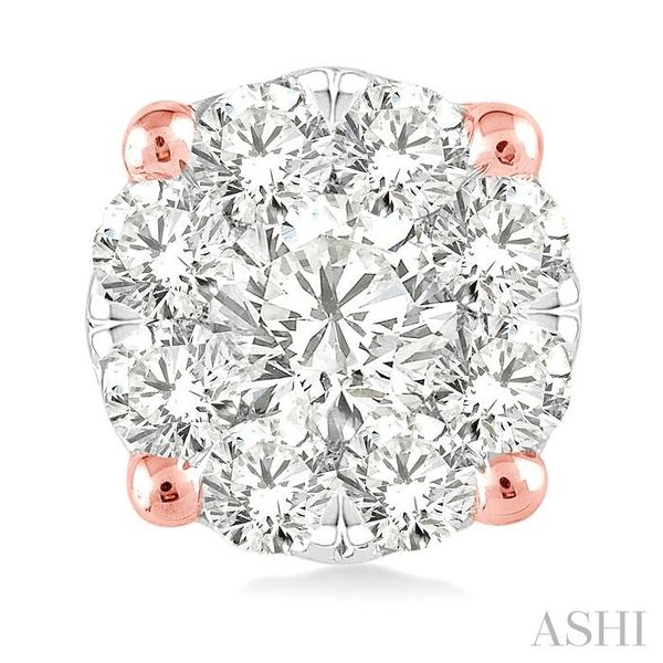 1 Ctw Lovebright Round Cut Diamond Earrings in 14K Rose and White Gold Image 2 Trinity Diamonds Inc. Tucson, AZ