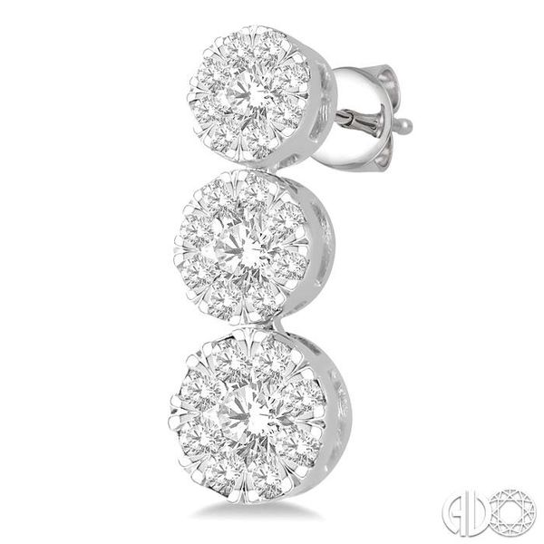 1 ctw Hanging Triple Mount Lovebright Round Cut Diamond Earring in 14K White Gold Image 3 Trinity Diamonds Inc. Tucson, AZ