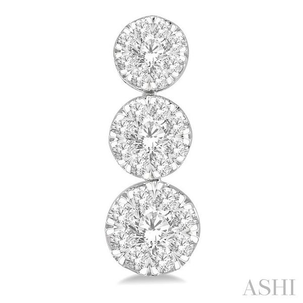 1 ctw Hanging Triple Mount Lovebright Round Cut Diamond Earring in 14K White Gold Image 2 Trinity Diamonds Inc. Tucson, AZ
