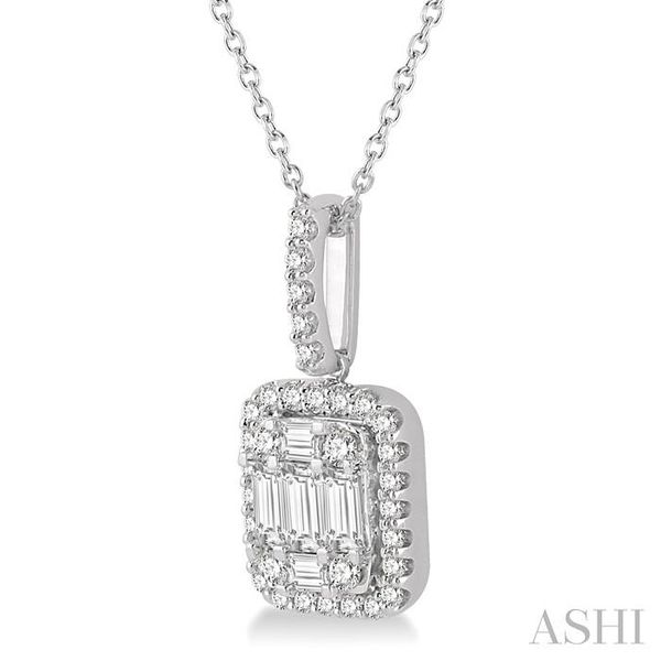3/4 Ctw Baguette & Round Cut Fusion Diamond Pendant in 14K White Gold Image 2 Trinity Diamonds Inc. Tucson, AZ