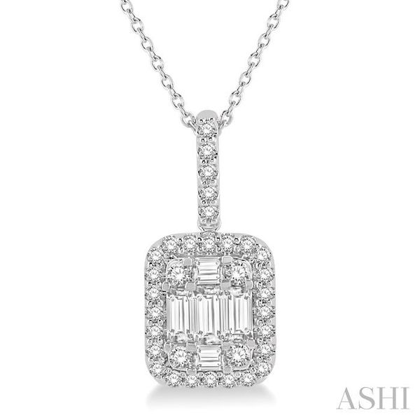 3/4 Ctw Baguette & Round Cut Fusion Diamond Pendant in 14K White Gold Trinity Diamonds Inc. Tucson, AZ