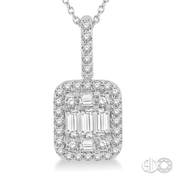 3/4 Ctw Baguette & Round Cut Fusion Diamond Pendant in 14K White Gold Image 3 Trinity Diamonds Inc. Tucson, AZ