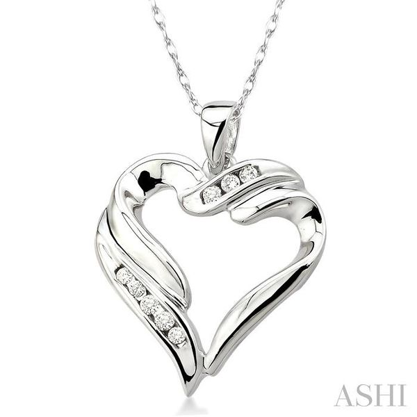 1/10 Ctw Round Cut Diamond Heart Pendant in 10K White Gold with Chain Image 2 Trinity Diamonds Inc. Tucson, AZ