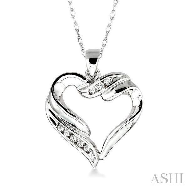 1/10 Ctw Round Cut Diamond Heart Pendant in 10K White Gold with Chain Trinity Diamonds Inc. Tucson, AZ