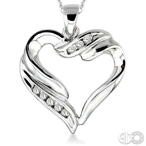 1/10 Ctw Round Cut Diamond Heart Pendant in 10K White Gold with Chain Image 3 Trinity Diamonds Inc. Tucson, AZ