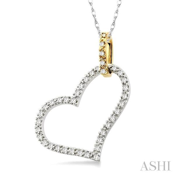 1/4 Ctw Round Cut Diamond Heart Pendant in 14K White and Yellow Gold with Chain Image 2 Trinity Diamonds Inc. Tucson, AZ