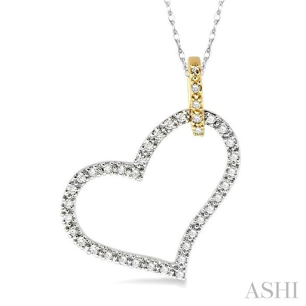 1/4 Ctw Round Cut Diamond Heart Pendant in 14K White and Yellow Gold with Chain Trinity Diamonds Inc. Tucson, AZ