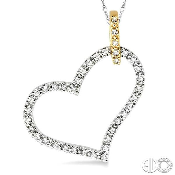 1/4 Ctw Round Cut Diamond Heart Pendant in 14K White and Yellow Gold with Chain Image 3 Trinity Diamonds Inc. Tucson, AZ
