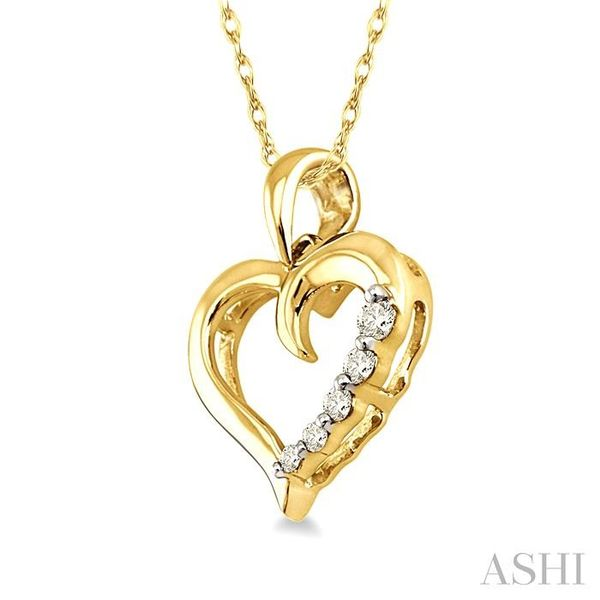 1/10 Ctw Round Cut Diamond Heart Shape Journey Pendant in 10K Yellow Gold with Chain Image 2 Trinity Diamonds Inc. Tucson, AZ
