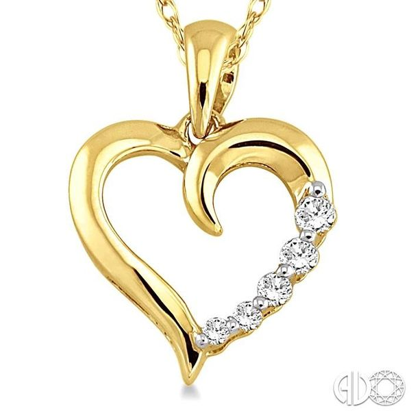 1/10 Ctw Round Cut Diamond Heart Shape Journey Pendant in 10K Yellow Gold with Chain Image 3 Trinity Diamonds Inc. Tucson, AZ